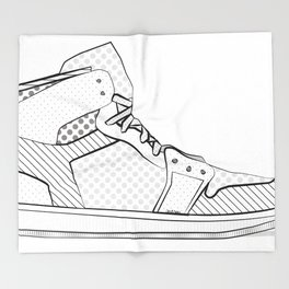 sneaker illustration pop art drawing - black and white graphic Throw Blanket