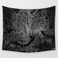 minneapolis Wall Tapestries featuring minneapolis map by Line Line Lines