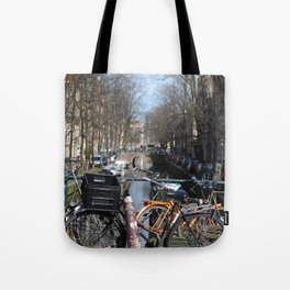 Bike Parked on Canals of Amsterdam Tote Bag