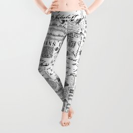 Black And White Vintage Handlettering And Ornaments Script Pattern Leggings