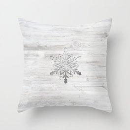 Snow in Silver Throw Pillow