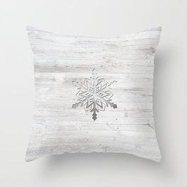 Snow in Silver Throw Pillow