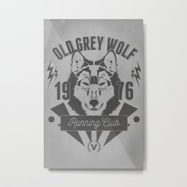 Old Grey Wolf Running Club Metal Print