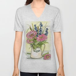 Pink Zinnias in Pitcher Watercolor Unisex V-Neck