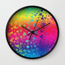 Hearts Rainbow Wall Clock