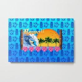 Hawaiian Surfing And Tiki Pattern Metal Print