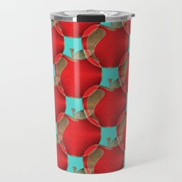 Colorful red apples on a teal background Travel Mug