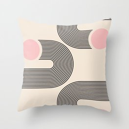 Geometric Arches Composition - interior, drawing, y2k, gift, painting, comfy, mid century print, int Throw Pillow