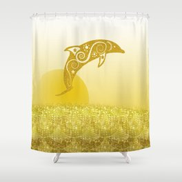 Gold Dolphin Shower Curtain