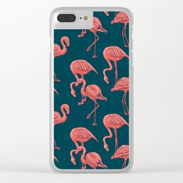 Living coral flamingo pattern Clear iPhone Case