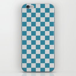 Teal and Grey Check iPhone Skin