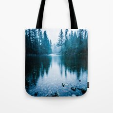 Forest Mountain Fog - Blue Lake Reflection Tote Bag