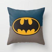 bat man Throw Pillows featuring Bat-Man by The Retro Inc