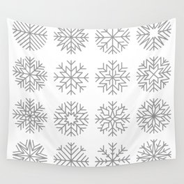minimalist snow flakes Wall Tapestry