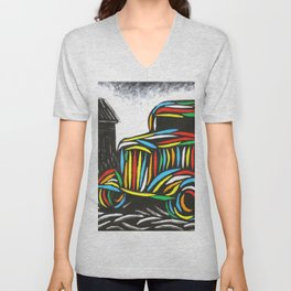 Vintage Car Art Unisex V-Neck