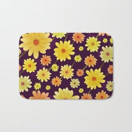 Yellow dots, Yellow Flower, Floral Pattern, Yellow Blossom Bath Mat