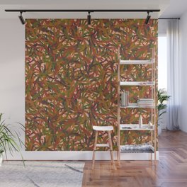 Woodland Forest Floor, Camouflage Plants in Woods Illustration Pattern in Forest Green & Brown Wall Mural