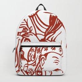 Japanese Father Son Daughter and Dog, Vintage illustration Backpack