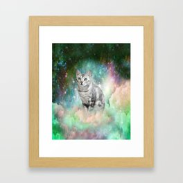Purrsia Kitty Cat in the Emerald Nebula of Innocence Framed Art Print