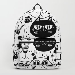 Doodle hand drawn pattern with cute cats Backpack