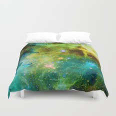 blue green space nebula Duvet Cover