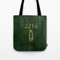221b Tote Bags featuring 221B Door by Kristina Moy