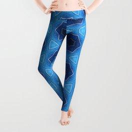 Blue sparkles silver stars pattern 1 Leggings
