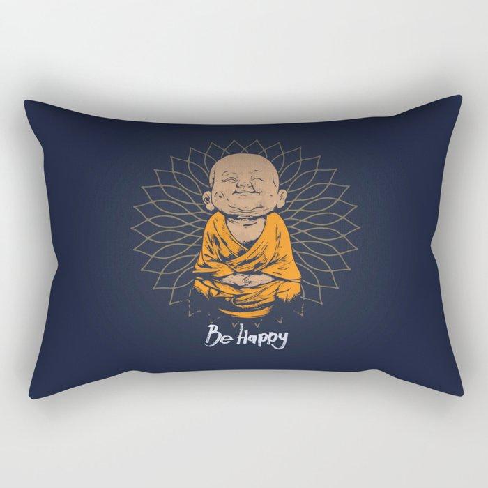 Be Happy Little Buddha Rectangular Pillow