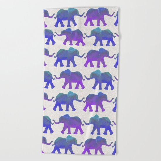 Follow The Leader - Painted Elephants in Royal Blue, Purple, & Mint Beach Towel