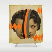 arnold Shower Curtains featuring headache girl by AmDuf