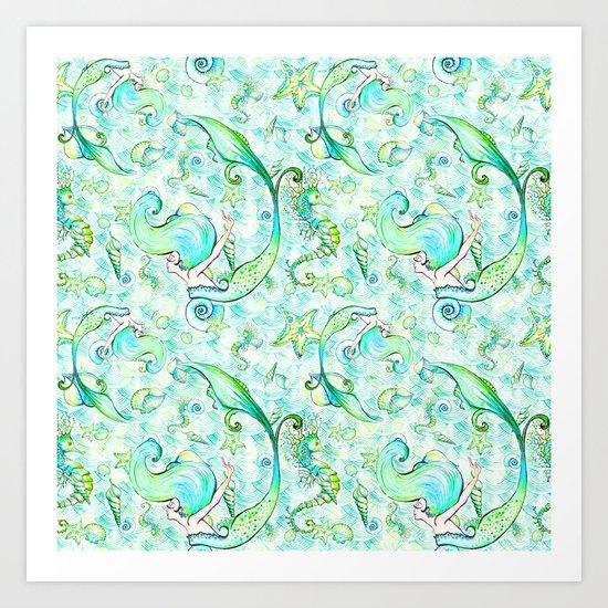 Mermaid Pattern 05 by serigraphonart