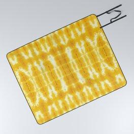Yellow Linen Shibori Stripe Picnic Blanket