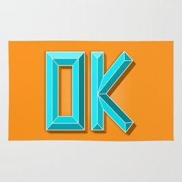 """""""OK"""" 3D Letters (Orange, Light Teal Blue) Rug"""