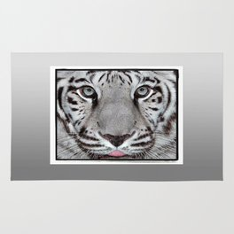 White Tiger with a little tougue Rug