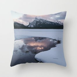 Sunset over Mt Rundle Throw Pillow