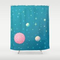 8bit Shower Curtains featuring Brain Planet (8bit) by Sarajea