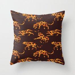 Trendy brown orange yellow modern safari leopard animal print Throw Pillow