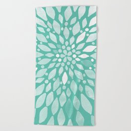 Radiant Dahlia in Teal and White Beach Towel