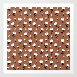 Paper cut cotton boll flowers fall bloom copper Art Print
