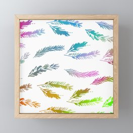 Colorful Rainbow Feather Contemporary Pattern Framed Mini Art Print