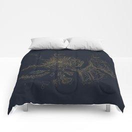 Mount Hood, Oregon Contour Map Comforters
