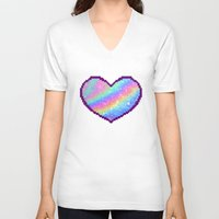 holographic V-neck T-shirts featuring Holographic Heart by Sombras Blancas Art & Design