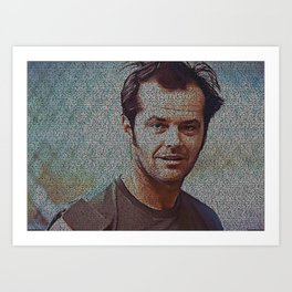 Text Portrait of Randle McMurphy with full script of One Flew Over The Cuckoo Nest Art Print