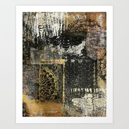 Bee - Mixed Media Acrylic Gel Print Collage Abstract Modern Art, 2015 Art Print