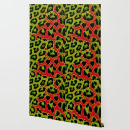 Red and Apple Green Leopard Spots Wallpaper