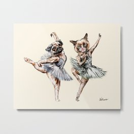 Hipster Ballerinas - Dog Cat Dancers Metal Print