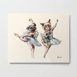 Hipster Ballerinas - Dog Cat Dancers Metal Print