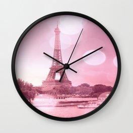 Paris Eiffel Tower Pink Bokeh Wall Clock