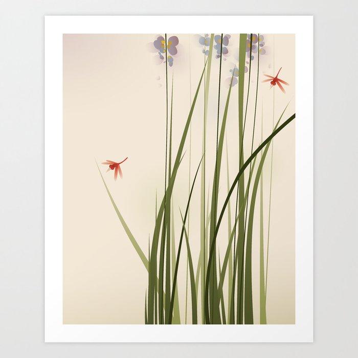 oriental style painting, tall grasses and flowers Kunstdrucke