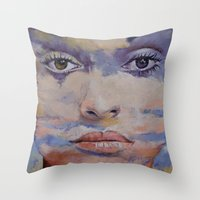 mona lisa Throw Pillows featuring Mona Lisa by Michael Creese